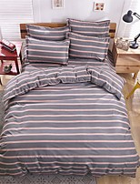 Bedtoppings Comforter Duvet Quilt Cover 4pcs Set Queen Size Flat Sheet Pillowcase Stripe Prints Microfiber