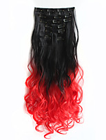 1Set Clip On Hair Extension 60cm 7pcst Natural Hairpieces Dip Dye Straight Synthetic Clip In ombre Hair Extensions1BTRED