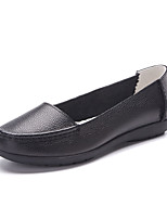 Women's Loafers & Slip-On Fall Comfort / Round Toe Cowhide Casual Flat Heel Black / Yellow / Red / Beige Walking