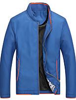 Men's Long Sleeve Casual / Sport JacketPolyester Solid Black / Blue / Gray