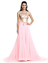 TS Couture® Formal Evening Dress A-line Jewel Sweep / Brush Train Chiffon with Appliques / Sequins