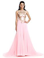 TS Couture® Serata formale Vestito Linea-A Con decorazione gioiello Strascico a terra Chiffon con Con applique / Con strass