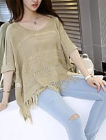 Women's Casual/Daily Cute Regular CardiganSolid Brown Round Neck  Length Sleeve Cotton Spring
