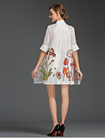 Women's Going out / Plus Size Simple Loose Dress,Floral Stand Mini ½ Length Sleeve White Polyester Summer Mid Rise Inelastic Thin