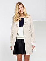 C+IMPRESS Women's Work Simple CoatSolid Peaked Lapel Long Sleeve Winter Beige Wool / Polyester Thick