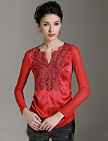 BURDULLY  Going out Sophisticated Spring / Fall T-shirtSolid V Neck Long Sleeve Blue / Red / Black Silk
