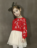 Girl's Casual/Daily Patchwork DressRayon / Polyester Spring / Fall Pink / Red