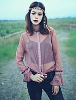 Aporia.As® Damen Ständer Lange Ärmel Shirt & Bluse Braun-MZ08042