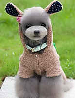 Dog Costume Clothes/Jumpsuit Dog Clothes Winter Spring/Fall Animal Cute Cosplay Gray Brown Pink