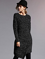 NEW BEFORE  Women's Formal Simple Sweater DressSolid Round Neck Knee-length / Asymmetrical Long Sleeve