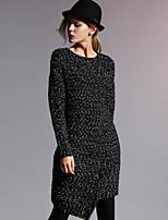 новый, прежде чем формальный простой свитер женский dresssolid шею длиной до колена / асимметричный длинный рукав