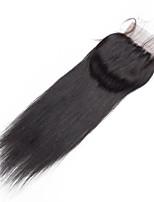 8inch to 20inch Noir 4x4 Fermeture Droit (Straight) Cheveux humains Fermeture Brun roux Dentelle Suisse about 30g gramme MoyenneCap