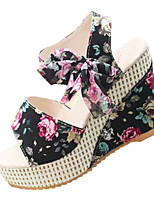 Women's Sandals Summer Sandals PU Casual Wedge Heel Bowknot Black / Blue / Pink Others