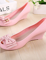 Women's Sandals Summer Sandals / Open Toe PVC Casual Wedge Heel Bowknot Black / Blue / Pink Others