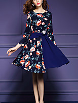 Women's Plus Size /Casual Street chic Slim Thin Fashion A Line Dress,Print /Patchwork Long Sleeve Blue Nylon Spring/Fall