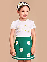 Girl's Casual/Daily Print DressCotton Summer Green
