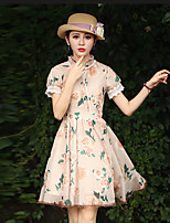 Our Story Women's Going out Chinoiserie Sheath DressFloral Crew Neck Knee-length Short Sleeve Beige Polyester Summer