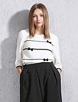 Tee-shirt Femme,Couleur Pleine Sortie simple Printemps / Automne Manches ¾ Col Arrondi Blanc Polyester Moyen