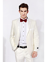 Tuxedos Slim Fit Peak Single Breasted One-button Wool & Polyester Blended Solid 2 Pieces White