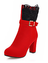 Women's Boots Spring / Fall / Winter Platform / Fashion Boots Leatherette / Casual Chunky Heel Zipper Black / Red Others