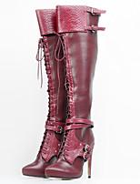 נשים-מגפיים-דמוי עור-מגפי אופנה-בורגונדי-יומיומי מסיבה וערב-עקב סטילטו