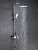Bath Mixer With Shower Rain Shower Widespread with  Ceramic Valve Two Handles Chrome Shower Set Bathtub Faucet