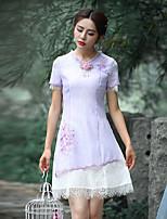 Our Story Going out Vintage Sheath DressEmbroidered Round Neck Above Knee Short Sleeve Purple Polyester Summer