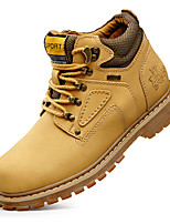 Unisex Athletic Shoes Fall / Winter Comfort Leather Casual Flat Heel Black / Brown / Yellow / Khaki Sneaker