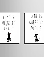 E-HOME® Stretched Canvas Art Black Cat And Dog Decoration Painting  Set Of 2