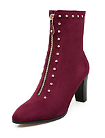 Women's Boots Spring / Fall / Winter Fashion Boots Leatherette/ Casual Chunky Heel Rivet Black / Gray / Burgundy Others