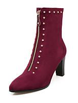 Черный / Серый / Бордовый-Женский-Для офиса / На каждый день-Дерматин-На толстом каблуке-Модная обувь-Ботинки