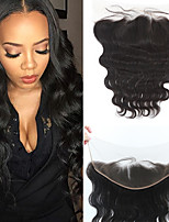 10-20inch Черный Изготовлено вручную Естественные кудри Человеческие волосы закрытие Умеренно-коричневый Швейцарское кружево 80g-200g