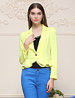 I'HAPPY Women's Work Simple Spring / Fall BlazerSolid Peaked Lapel Long Sleeve Yellow Polyester / Spandex Medium