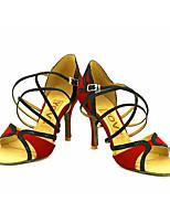 Chaussures de danse(Rouge) -Personnalisables-Talon Personnalisé-Satin-Latine / Salsa