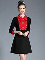 Winter Women Plus Size Fashion Vintage Color Block Bead Patchwork Slim 3/4 Sleeve A Line Dress