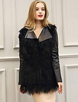 Women's Plus Size / Casual/Daily Street chic Fur CoatSolid Round Neck Long Sleeve Winter Black Faux Fur / PU Thick