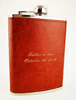 Personalized Stainless Steel Brown Leather 8-oz   Hip Flasks