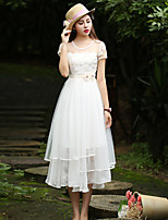 Our Story Going out Sophisticated Loose / Sheath DressSolid Round Neck Maxi Short Sleeve White Polyester Summer