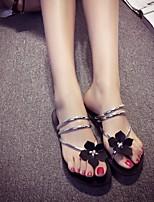 Черный-Женский-На каждый день-Кожа-На плоской подошве-Удобная обувь-Сандалии