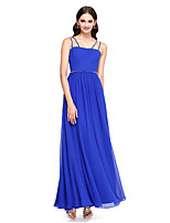 Lanting Bride®Ankle-length Chiffon Bridesmaid Dress - Elegant A-line Spaghetti Straps with Beading / Sash / Ribbon