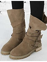 Women's Boots Spring Fall Winter Suede Outdoor Chunky Heel Buckle Black Khaki Other