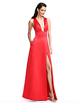 TS Couture® Formal Evening Dress A-line V-neck Floor-length Satin with Pockets / Split Front