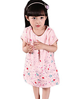 Girl's Casual/Daily Jacquard DressCotton Summer Pink