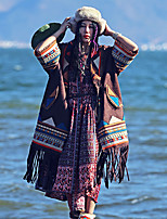 Whisper Wheat Women's Going out / Holiday Boho Trench CoatPatchwork / Embroidered Notch Lapel Long Sleeve Fall Brown