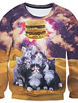 New Fashion Men cat Hamburger flag Printed Pullover Long Sleeve 3d Sweatshirt