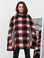 c + impressionar as mulheres de sair da rua capa chique / médio lã / rayon vermelho de inverno sem mangas com capuz capesplaid