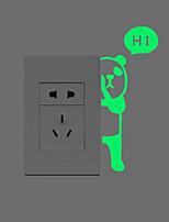 Животные Наклейки Светящиеся наклейки Наклейки для выключателя света,PVC материал Съемная Украшение дома Наклейка на стену