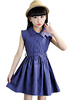 Girl's Going out Solid Dress,Cotton / Others Summer Blue / Red