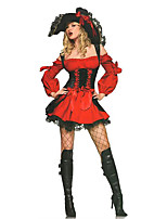 Cosplay Costumes / Party Costume Pirate Festival/Holiday Halloween Costumes Red / Black Lace Dress / Hat Halloween Female Terylene