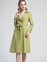 BORME Women's Shirt Collar Long Sleeve Trench Coat Light Green-W003